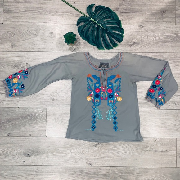 Johnny Was Tops - Johnny Was BiYa Embroidered Blouse